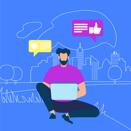 Young Man Sitting on Ground with Laptop and operating social account Illustration