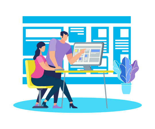 Young Man Stand at Computer Explaining Info to Girl Illustration