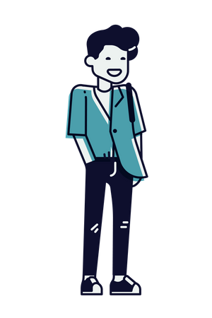 Young man Standing and putting his hand on pocket Illustration