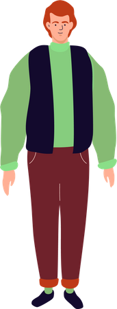 Young man standing in casual clothes Illustration