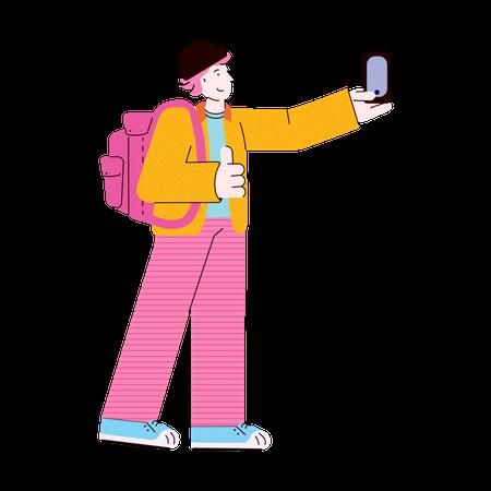 Young man taking selfie Illustration