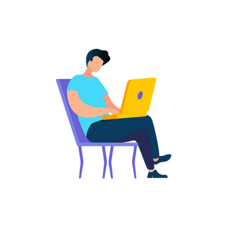 Young Man Using laptop while seating on chair Illustration