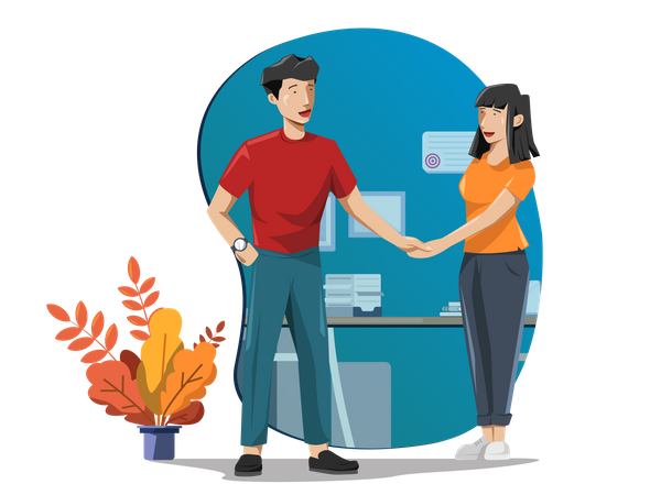 Young man welcoming a young lady in office Illustration