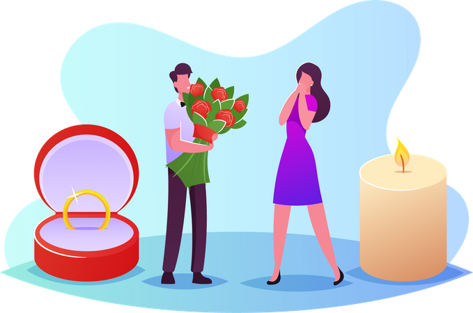 Young Man with Flower Bouquet and Ring Making Proposal to Woman Asking her Marry him Illustration