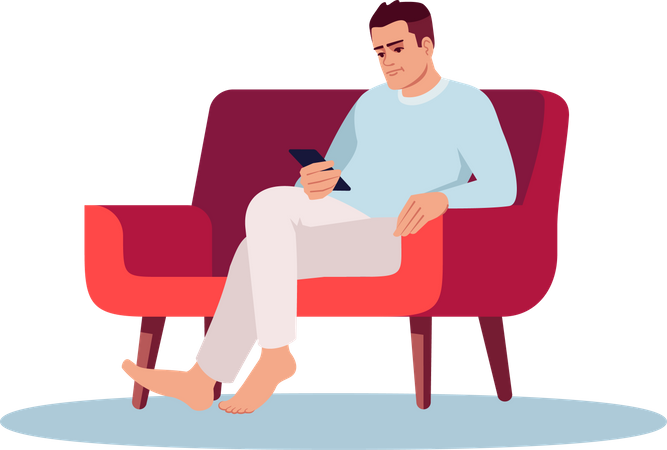 Young man with smartphone Illustration