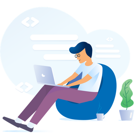 Young man working on laptop and sitting on bean bag showing concept of freelancing Illustration