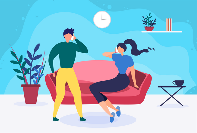 Young Married Couple Talking over Phone Illustration