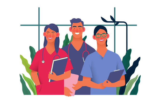 Young medical specialists standing together Illustration