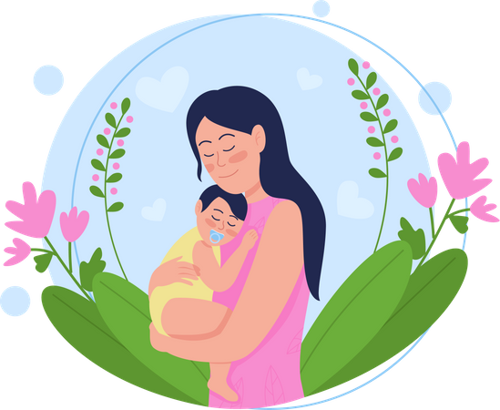 Young mother with baby Illustration