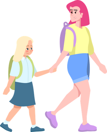 Young mother with blonde daughter going to school Illustration
