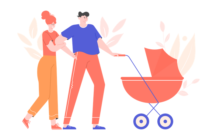 Young parents are walking with a stroller Illustration