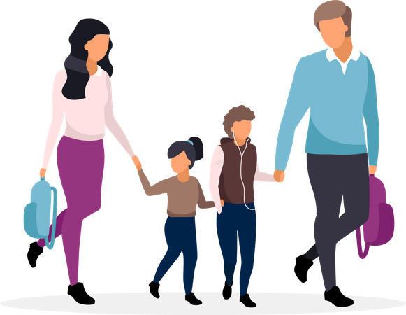 Young parents taking children from school Illustration