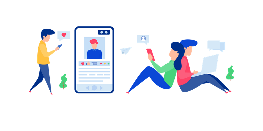 Young people are communicating with each other using the social media platform Illustration