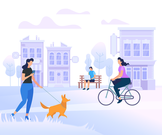 Young People Characters Walking in City Illustration