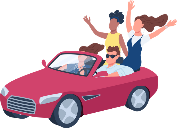 Young people driving red convertible car Illustration