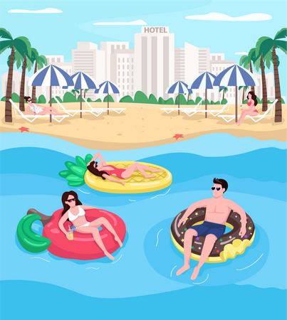 Young people relaxing at beach Illustration