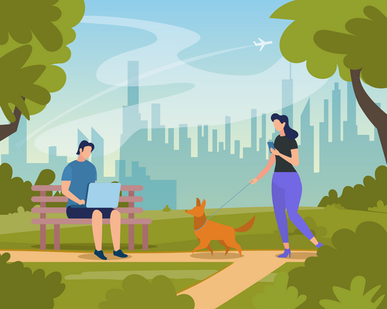 Young People Relaxing in City Park at Summer Time Illustration