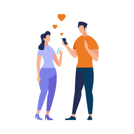 Young People romantic chatting using smartphone Illustration