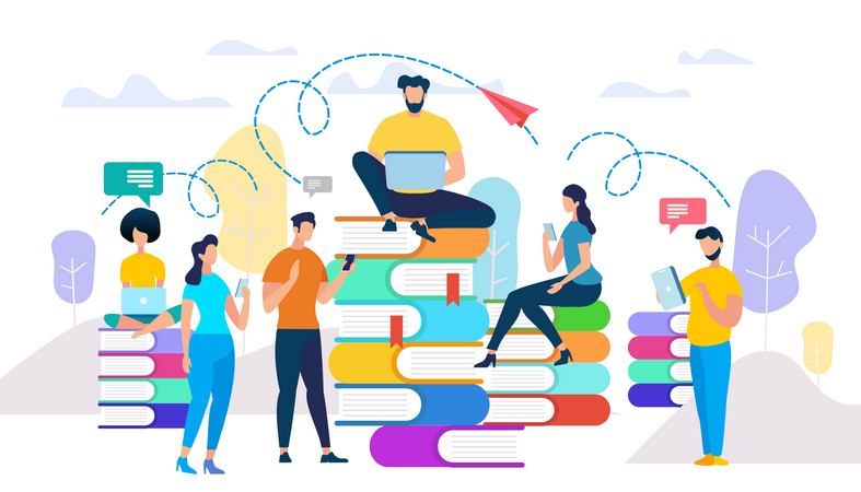 Young People Study, Prepare for Exam Get Knowledge Illustration
