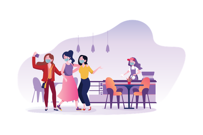 Young people wearing mask in cafe Illustration