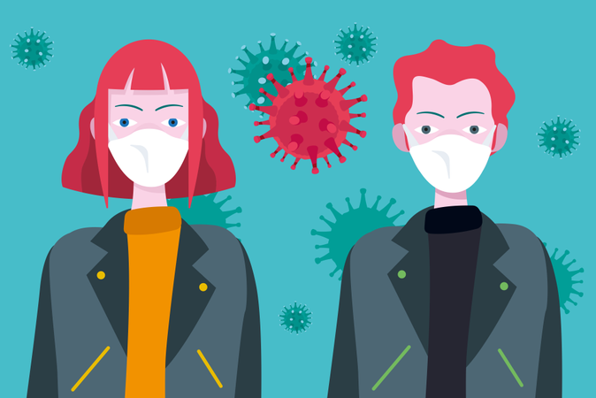 Young people wearing masks to protect themselves from the coronavirus and epidemic virus symptoms Illustration