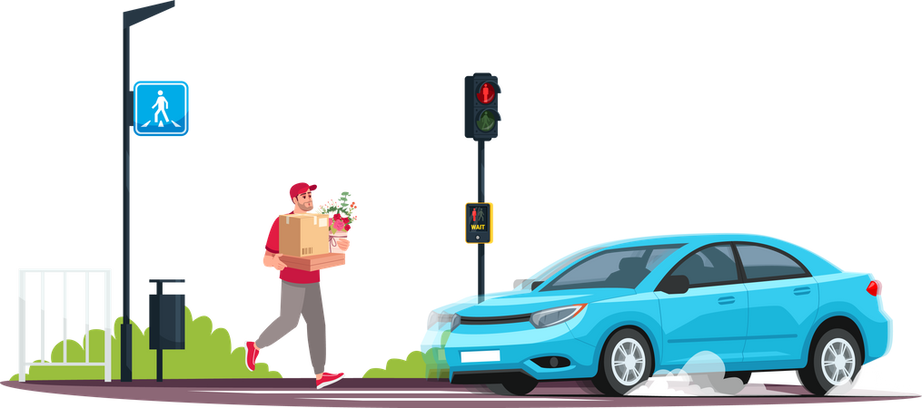 Young person crossing road at red light while a car is coming Illustration