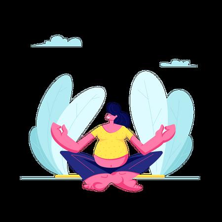 Young Pregnant Woman Doing Yoga Illustration