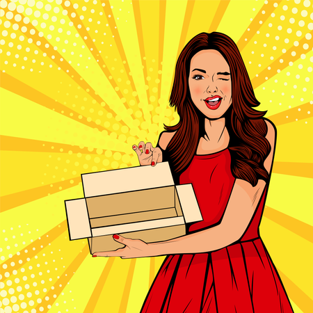 Young sexy surprised woman holding empty box Illustration