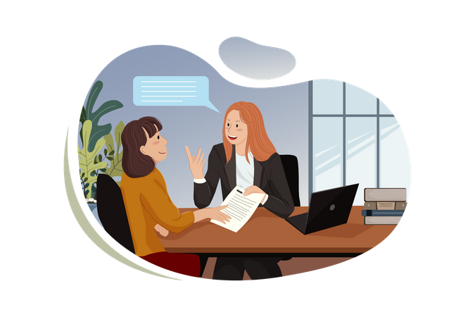 Young smiling business women working on new project at office Illustration