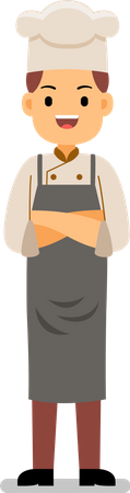 Young Smiling Chef standing with folded hands Illustration