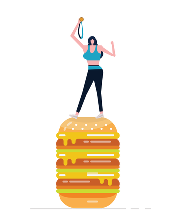 Young Sport Woman Holding Gold Medal Standing On Big Burger Illustration