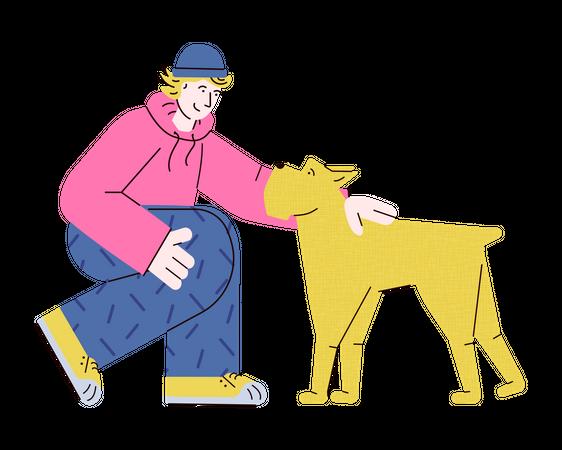 Young teenage man petting yellow dog Illustration