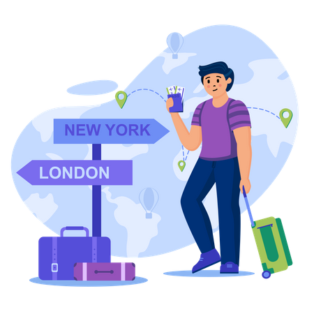 Young Traveler with luggage Illustration