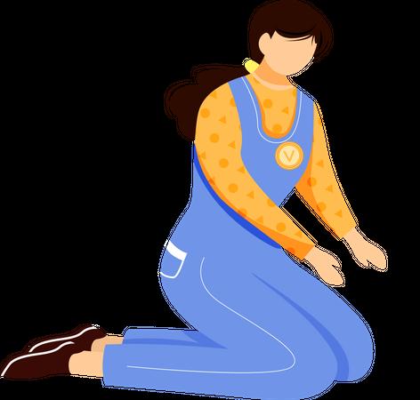 Young volunteer girl Illustration