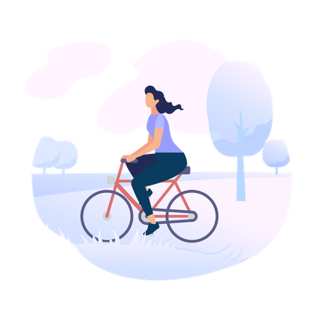 Young Woman Character Riding Bicycle in City Park Illustration