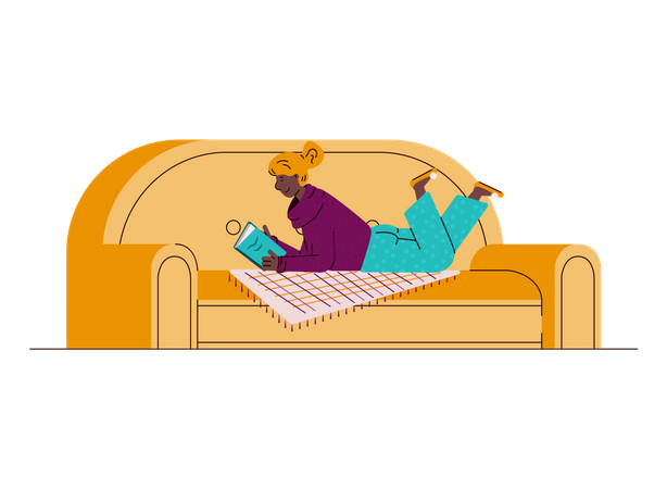 Young woman enjoying vacant time and reading book on sofa Illustration