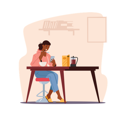 Young Woman Having Breakfast with Smartphone Illustration