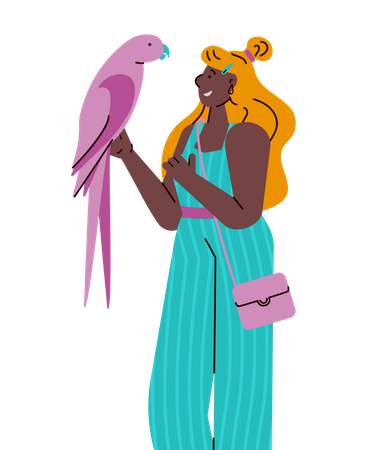 Young woman holding colorful pink parrot Illustration
