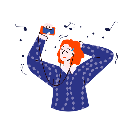 Young woman holding smartphone and enjoying a song with closed eyes Illustration