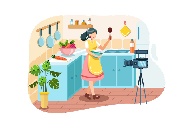 Young woman in kitchen recording new recipe video on camera Illustration
