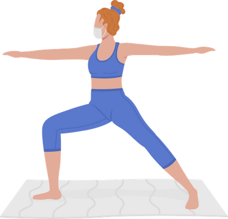 Young woman in mask practicing yoga Illustration