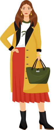 Young woman in trendy clothes Illustration