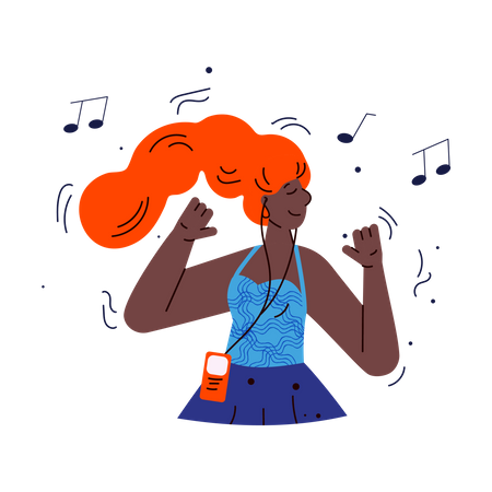 Young woman listening  music using smartphone application Illustration