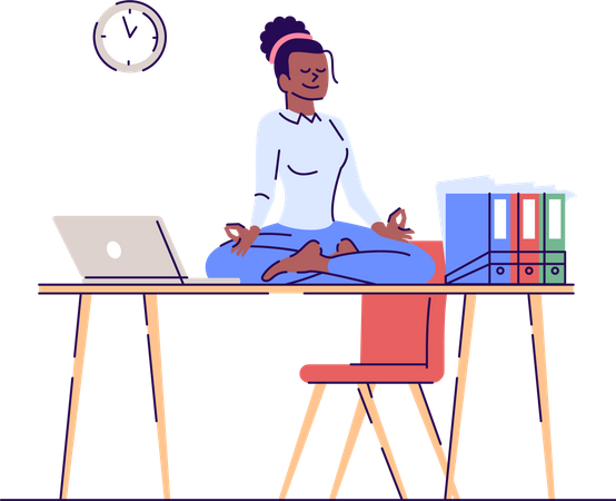 Young woman meditating on workplace Illustration
