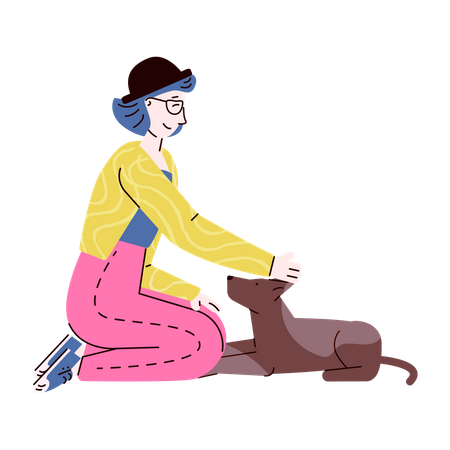 Young woman on floor with dog pet Illustration
