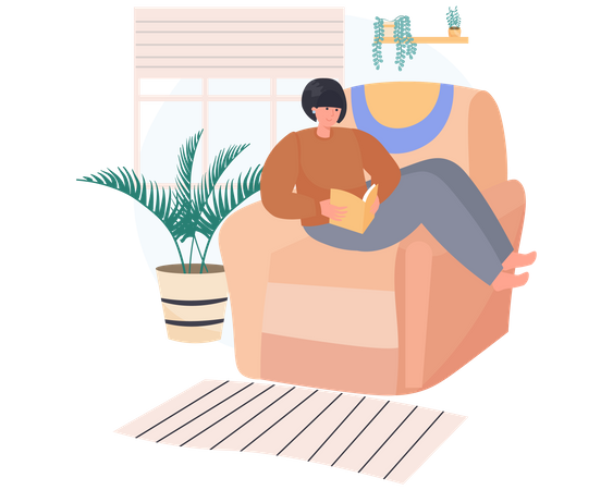 Young woman reading a book while sitting on a Living Room sofa Illustration