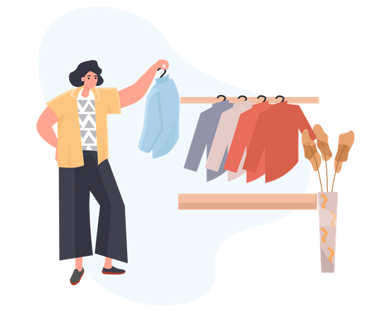 Young Woman Selecting Clothes In Shopping Mall Illustration