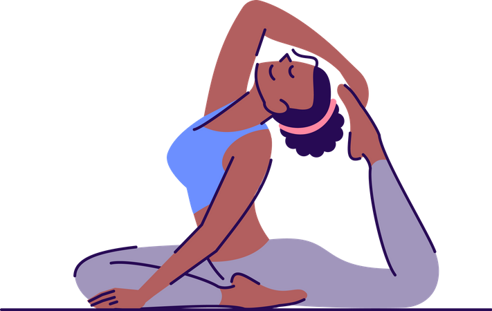 Young woman sitting in one legged king pigeon pose Illustration