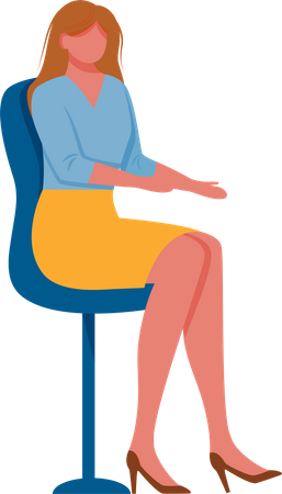 Young woman sitting on chair Illustration
