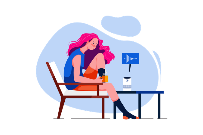 Young Woman talk to voice assistant at home and relaxing Illustration